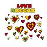 Shabby boho style hearts reggae color music background. Royalty Free Stock Photography