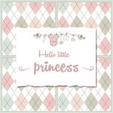 shabby chic baby girl shower card Stock Photo