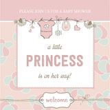 Shabby chic baby girl shower card Royalty Free Stock Photography