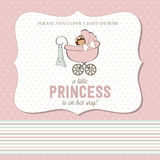 Shabby chic baby girl shower card Royalty Free Stock Images