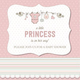 Shabby chic baby girl shower card Stock Image
