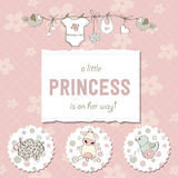 Shabby chic baby girl shower card Stock Photography