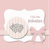 Shabby chic baby girl shower card Stock Photos