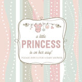 Shabby chic baby girl shower card Royalty Free Stock Photos