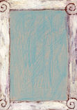 Shabby Chic Background. Distressed and textured surface with frame drawn and painted by hand on brown cardboard Royalty Free Stock Photos