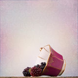 Shabby Chic Background with blackberries Royalty Free Stock Image