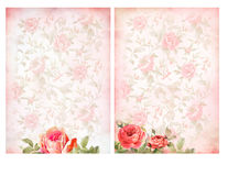 Shabby chic backgrounds with roses. Royalty Free Stock Images