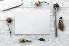 Shabby chic, Boho Mockup for presentations with dry roses. royalty free stock photo