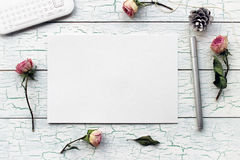 Shabby chic, Boho Mockup for presentations with dry roses. Stock Photos
