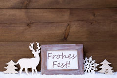 Shabby Chic Card With Frohes Fest Mean Merry Christmas Stock Image