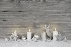 Shabby chic christmas background in grey, white and silver color Royalty Free Stock Images