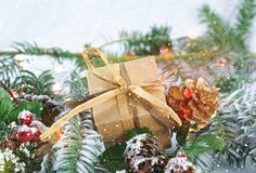 Christmas gift and decorations with snow. Shabby chic Christmas gift and decorations with snow Stock Photography