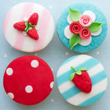 Shabby chic cupcakes. Decorated with fondant Royalty Free Stock Image