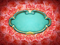 Shabby Chic frame and roses Royalty Free Stock Image