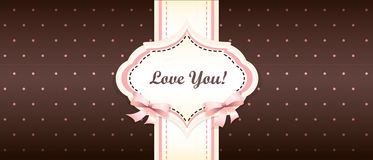 Shabby chic. girly congratulations card. swatch. Brown and pink color Royalty Free Stock Image