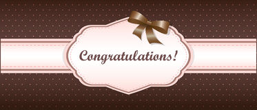 Shabby chic. girly congratulations card. swatch Stock Image