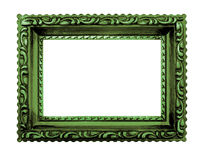Shabby chic green picture frame,white background Royalty Free Stock Photos