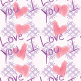 Shabby Chic I Love You Pattern. A marker or watercolor stylized pattern of checkerboard, hearts, and the words I Love You Stock Illustration