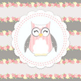 Shabby chic owl illustration Royalty Free Stock Photography
