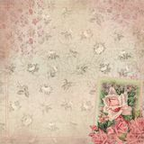 Vintage Floral Background Texture - Shabby Chic Roses with Stitching. Shabby chic rose background texture with coordinating simulated stitched border royalty free illustration