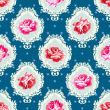 Shabby chic rose damask pattern. Stock Images