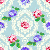 Shabby chic rose damask pattern Stock Image