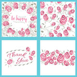 Shabby Chic Rose Patterns and Cards. Royalty Free Stock Photos
