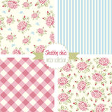Shabby Chic Rose Patterns. Set seamless pattern. Vintage floral pattern, backgrounds. Stock Photos
