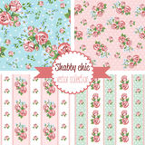 Shabby Chic Rose Patterns. Set seamless pattern. Vintage floral pattern, backgrounds.