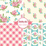 Shabby Chic Rose Patterns. Set seamless pattern. Vintage floral pattern, backgrounds. Royalty Free Stock Photos
