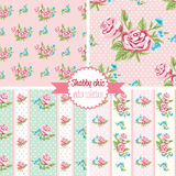 Shabby Chic Rose Patterns. Set seamless pattern. Vintage floral pattern, backgrounds. Royalty Free Stock Photo