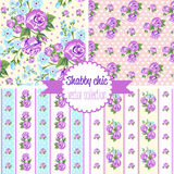 Shabby Chic Rose Patterns. Set seamless pattern. Vintage floral pattern, backgrounds. Stock Image