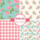 Shabby Chic Rose Patterns. Set seamless pattern. Vintage floral pattern, backgrounds. Vector illustration stock illustration