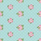Shabby chic rose seamless pattern on polka dot background. Shabby chic rose seamless pattern on light green polka dot background. Vector illustartion vector illustration