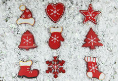 Shabby chic rustic Christmas decorations. On white snow Royalty Free Stock Photo