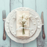 Shabby chic table setting Stock Photo