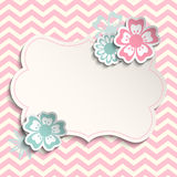 Shabby chic template with flowers, illustration Stock Photo