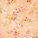 Shabby Chic Vintage Antique Rose Floral Wallpaper. Beige, pink, yellow and red dainty floral textured pattern Royalty Free Stock Photography