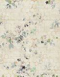 Shabby Chic vintage floral background. With hexagon pattern in faded colors Stock Photography