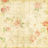 Shabby Chic vintage rose floral grungy background. Romantic shabby chic floral grungy vintage background with roses, old text royalty free stock images