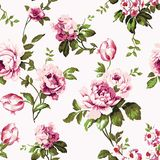 Shabby chic vintage roses seamless pattern. Shabby chic vintage roses, tulips and forget-me-nots vintage seamless pattern, classic chintz floral repeat Stock Photos
