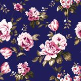 Shabby chic vintage roses seamless pattern. Shabby chic vintage roses, tulips and forget-me-nots vintage seamless pattern, classic chintz floral repeat Stock Image