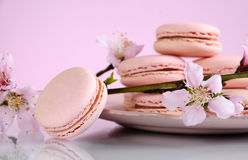Shabby chic vintage style pink macarons Royalty Free Stock Photography
