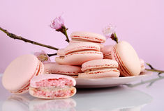 Shabby chic vintage style pink macarons Royalty Free Stock Photo