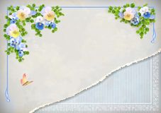 Shabby chic vintage wedding floral invitation Stock Photography