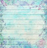 Shabby Chic Wood Background with Watercolor Ornaments Royalty Free Stock Image
