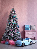 Shabby chick retro room christmas decoration Stock Photos