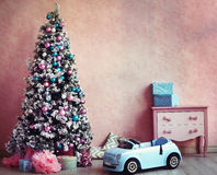 Shabby chick retro room christmas decoration Royalty Free Stock Photography