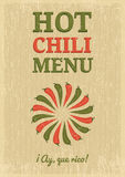 Shabby chili poster. Hot chili menu template on grunge background Royalty Free Stock Photography