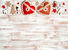 Shabby Christmas with wooden decorations Royalty Free Stock Photography